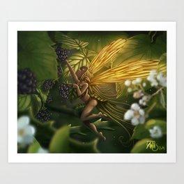 Fairy and blackberry Art Print