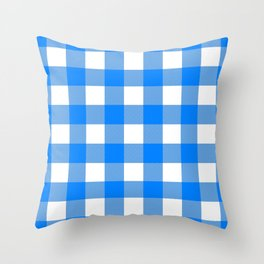 Gingham (Azure/White) Throw Pillow