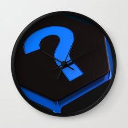Blue question mark on hexagons - 3D rendering Wall Clock
