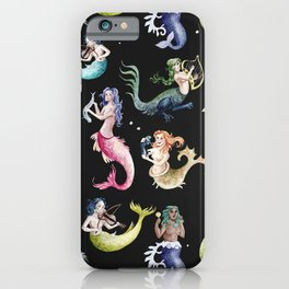 Medieval Mermaid Band - Black iPhone Case