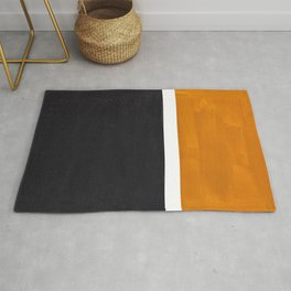 Black Yellow Ochre Rothko Minimalist Mid Century Abstract Color Field Squares Rug