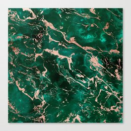 Modern rose gold marble green emerald watercolor pattern Canvas Print