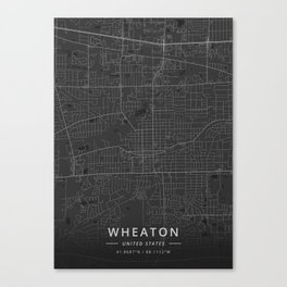 Wheaton, United States - Dark Map Canvas Print