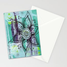 Teal Flower Stationery Cards