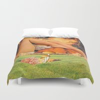 legs Duvet Covers featuring Legs & planet by Mariano Peccinetti