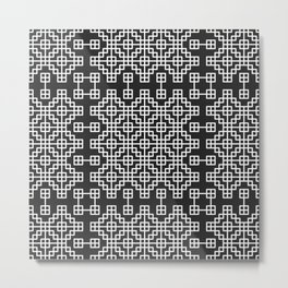 Chinese style grid pattern in black & white Metal Print