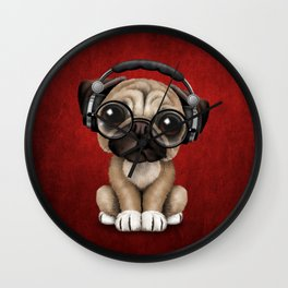 Cute Pug Puppy Dj Wearing Headphones and Glasses on Red Wall Clock