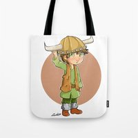 hiccup Tote Bags featuring chibi hiccup by theginga15