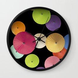 Colorful Paper Umbrella Abstract Wall Clock