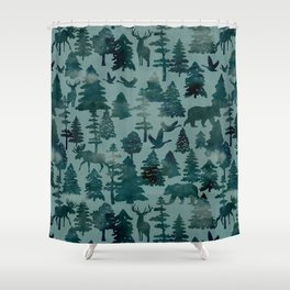 The Wild North, Wildlife, Blue Silhouette Forest and Animal Print Shower Curtain