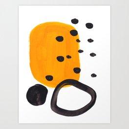 Mid Century Abstract Black & Yellow Fun Pattern Funky Playful Juvenile Shapes Polka Dots Art Print