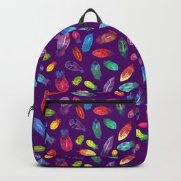 Watercolor Feather Pattern on Purple Backpack