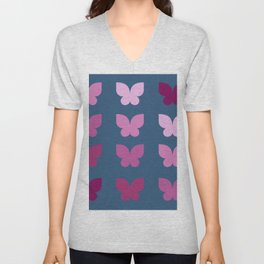 Butterflies in Purple Ombre with Dark Blue Background Unisex V-Neck
