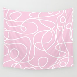 Doodle Line Art | White Lines on Baby Pink Wall Tapestry