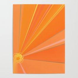 Abstract Golden Sun Flower Poster