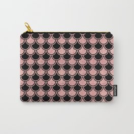 Mermaid Scales Rose Gold Pink on Black Carry-All Pouch