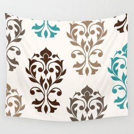 Heart Damask Art I Browns Teal Cream Wall Tapestry