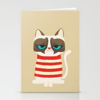 meme Stationery Cards featuring Grumpy meme cat  by UiNi