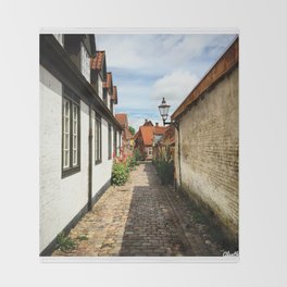 Narrow streets of Ribe Throw Blanket