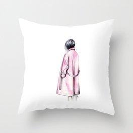 Pink coat Throw Pillow