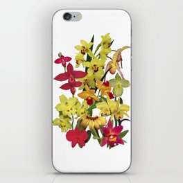 Orchids - Hot Colors! On white iPhone Skin
