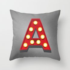 A - Theatre Marquee Letter Throw Pillow
