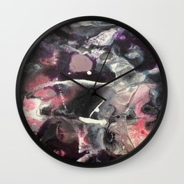 Pink and Black Original Abstract Painting by JodiLynpaintings. Splatter Abstract Pink Black Wall Clock