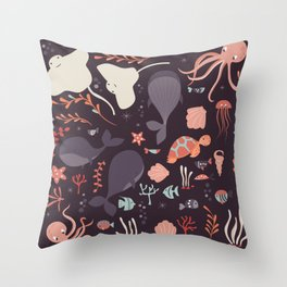 Sea creatures 002 Throw Pillow