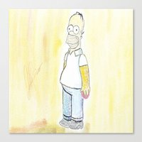 simpson Canvas Prints featuring Homer simpson by J Styles Designs