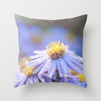 biology Throw Pillows featuring Blue Aster in LOVE I by UtArt