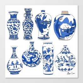 Blue Vases Canvas Print