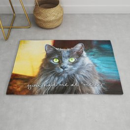 Fluffy grey cat close-up | You had me at meow Rug