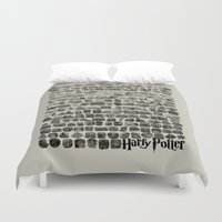 quotes Duvet Covers featuring HOGWARTS QUOTES by September 9
