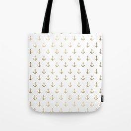 Elegant nautical faux gold white modern anchor Tote Bag