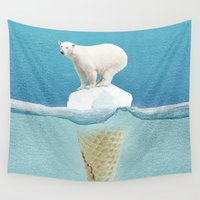 pun Wall Tapestries featuring Polar ice cream cap by Vin Zzep