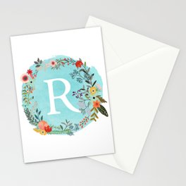 Personalized Monogram Initial Letter R Blue Watercolor Flower Wreath Artwork Stationery Cards