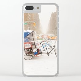 NYC Snow Day on Central Park West Clear iPhone Case