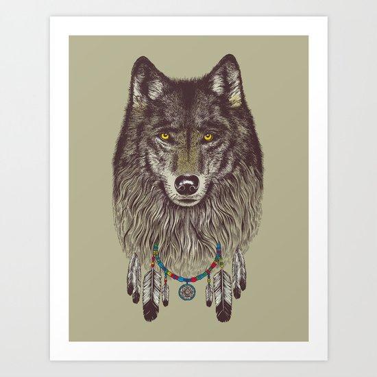 Wind Catcher Wolf Art Print