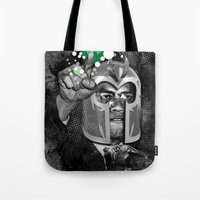 magneto Tote Bags featuring MAGNETO X by BlackKirby1