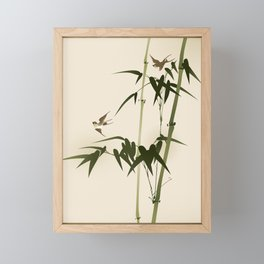 Oriental style bamboo branches 001 Framed Mini Art Print