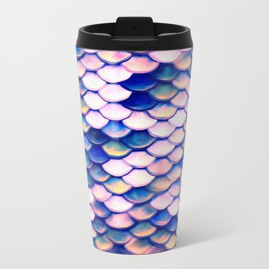 Rose Mermaid Skin Pattern Metal Travel Mug