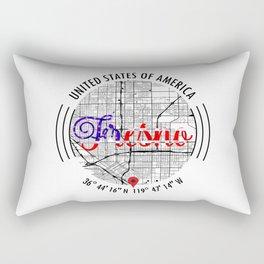 Fresno USA Road Map Art - Earth Tones Rectangular Pillow