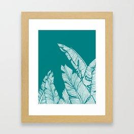 Banana Leaves on Teal #society6 #decor #buyart Framed Art Print