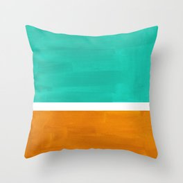 Marine Green Yellow Ochre Mid Century Modern Abstract Minimalist Rothko Color Field Squares Throw Pillow