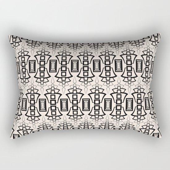 Art Deco 12 . Black and beige pattern . Rectangular Pillow