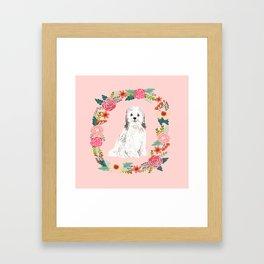 havanese floral wreath spring dog breed pet portrait gifts Framed Art Print