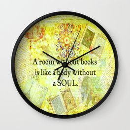 Book Reading Books quote Cicero Wall Clock