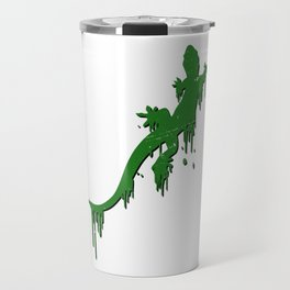 Distressed Green Salamander With Paint Drip Travel Mug