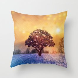Miracle Tree in Frozen Tundra, Home Decor, Scenic Wall Art, Winter Throw Pillow