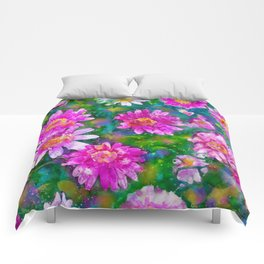 Pink Daisies Flower Party 2 by Jennifer Berdy Comforters